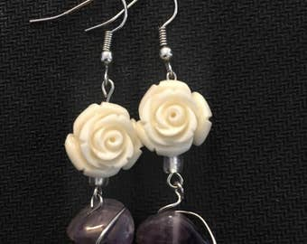 Rose & Amethyst Earrings