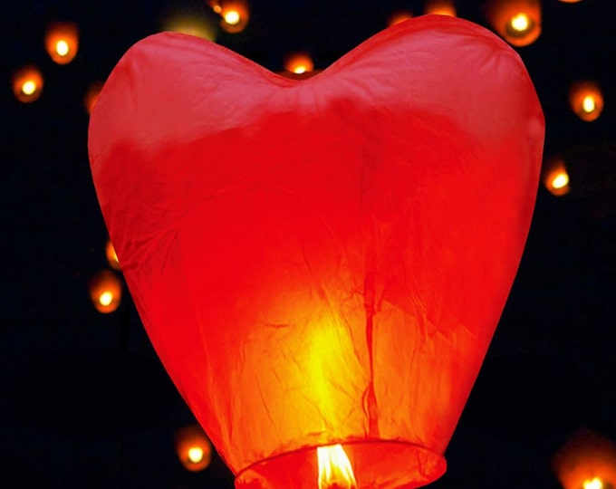 10%OFF 10 Flying heart Chinese paper fire resistant lanterns