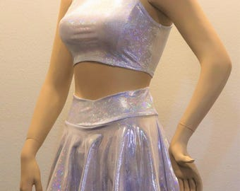 2PC Silvery White Holographic  (top and skirt set)