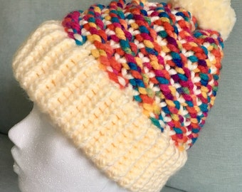 Super cosy ladies/womens thick winter woolly hat w/ pom pom. Rainbow, multicoloured, cream, knitted, chunky, wool, warm, cute, beanie gift
