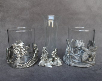 Vintage Seagull Pewter Cups, Shot Glasses with Holders, Set of 3 Shot Glasses with Pewter Holders, Pewter and Glass Barware