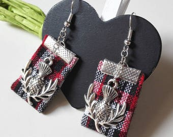 Outlander inspired Scotland earrings red Thistles Ireland Scottish thistle silver fairy Claire sassenach tartan