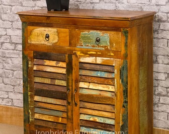 Vintage style painted double sideboard. Made from reclaimed hardwood timbers from old furniture. (VTSB-01)