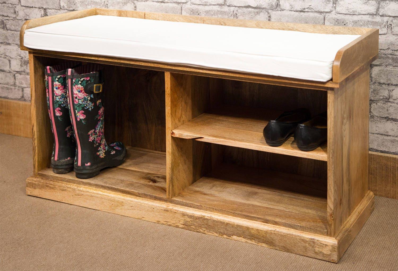 solid natural mango wood shoe storage bench mantis range. Black Bedroom Furniture Sets. Home Design Ideas