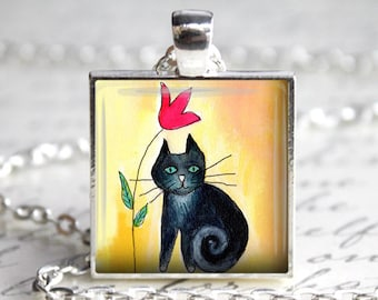Black cat silver pendant necklace, Cat jewelry Boho pendant, Cat pendant, Cat necklace, Black cat jewelry, Whimsical jewelry, Art jewelry