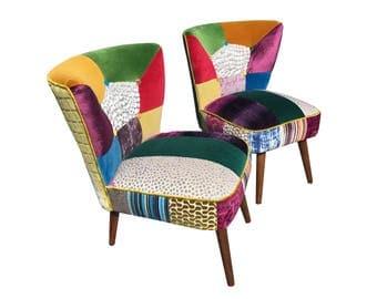 2 Stunning designer patchwork chairs