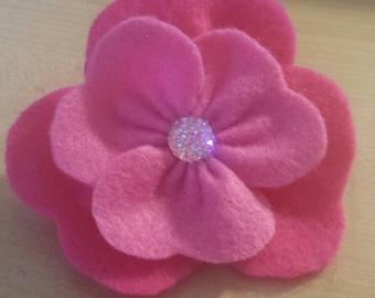 Pink Felt Flower Brooch
