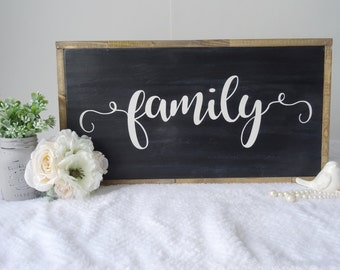 Family - wood sign - home decor