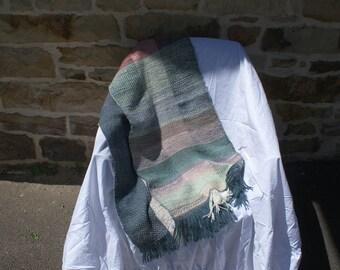Rectangular woven Twill hand Merino-alpaca and acrylic shawl