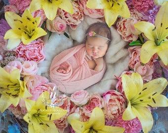 2x Newborn Digital Backdrop/ Prop / Photography / Fresh flowers  (Quintia)