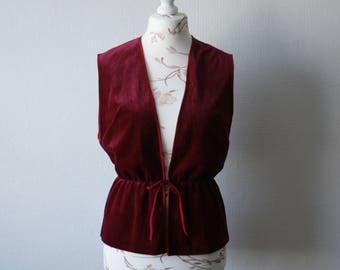 Burgundy waistcoat Vintage Velvet vest Women's waistcoat Tied vest Cinched waist vest Burgundy red vest Open front vest Finnish clothes 90's