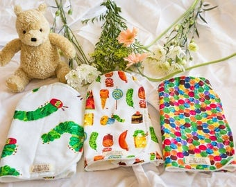 Hungry Caterpillar, Set of 3, Burp Cloths, Organic Bamboo Terry, Gift Set, Baby Shower