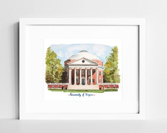 University of Virginia Campus Watercolor Print | UVA Rotunda | Charlottesville VA