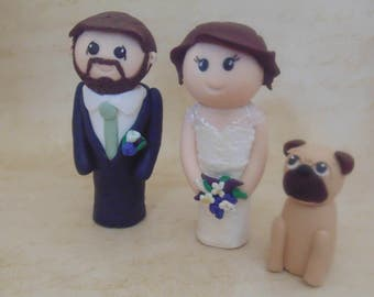 Custom bride and groom with pet wedding cake topper, kokeshi inspired, cute wedding topper, personalised cake topper, wedding cat topper