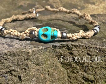Hemp and Turquoise Skull Friendship Bracelets with Clasp. Summer Boho chic, Spring accessory, Gift for her