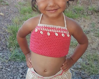 Disney's Baby Moana Outfit, Baby Moana Costume, First Birthday Moana Theme, Crochet Costume, Crochet Disney, Matching Sister Outfits