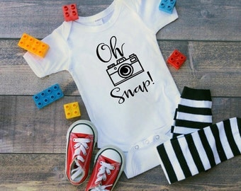 photographers baby, baby clothes, bodysuit,oh snap bodysuit, funny bodysuits, cute baby bodysuit, camera bodysuit, oh snap, RTS