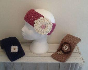 Crochet Headband/ Earwarmer/ Headwrap with crochet flower or a square, buttons and ribbon