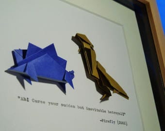 Origami Firefly Wash's Dinosaurs with Hand-Typed Quote, Mounted in a 20x25cm (8x10in) Frame