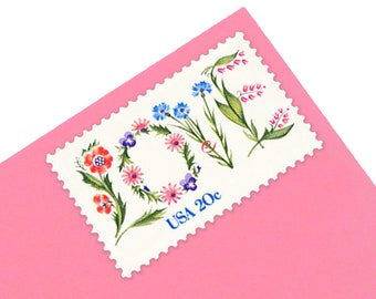 25 Floral Love Stamps - 20c - Vintage 1982 - Unused Postage - Quantity of 25