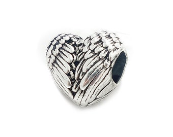 Silver Plated Wing Bead Charm, fits Pandora Bracelets