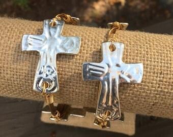 Silver Cross; Hammered Crosses; Cross Bangle; Cross
