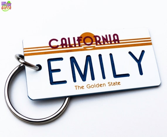 Personalized California Golden State License Plate Keychain