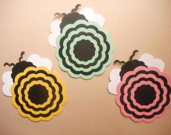 "Bumble Bees,**SALE**, 4.0"",Paper Bumble Bees,Die Cut Bumble Bees, Die Cut Circles, Paper Bugs,Party Decorations,Scrapbook Paper"