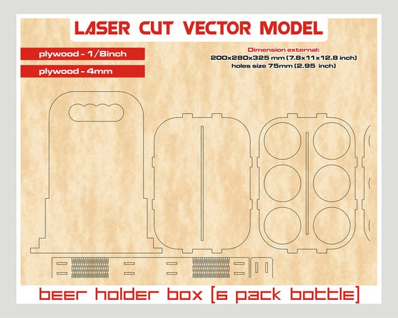 Beer holder box laser cut vector instant download laser for 6 pack beer carrier template