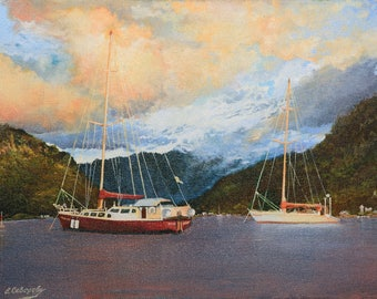 "Oil painting - ""2 boats"" canvas painting. 11.8""х15.7"" (30cm x 40cm) painting art original, wall art canvas, oil painting LANDSCAPE"