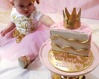 Pink and Gold Half Birthday tutu outfit12 birthday
