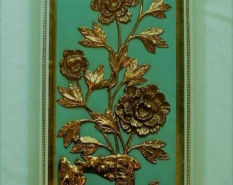 Turquoise and gold 50s flower wall relief by Artist Yolande