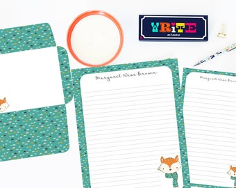 Fox Personalized Editable Stationery Set, Printable Stationery, Foxy Stationery Set