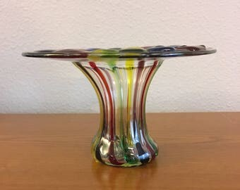 Vintage Rainbow Glass Bud Vase- Small Multi Colored Glass Vase