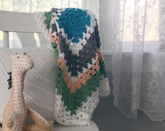 READY TO SHIP . multi colored granny square baby blanket . shower gift .