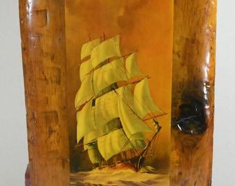 "Vintage Nautical Tall Ship Decoupage Wall Decor on a Primitive Wood Plank 25"""