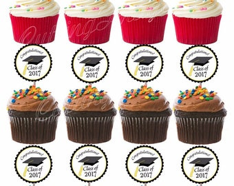 Congrats 2017 Graduation Cutout Double Sided Cupcake Picks Cake Toppers 12 pc