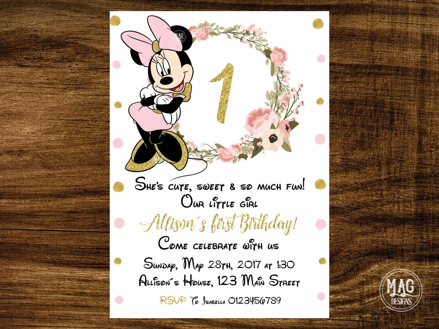 Minnie Mouse invitation - Pink and Gold Minnie Mouse Birthday ...