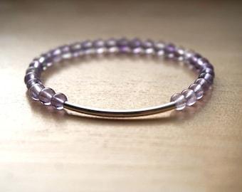 Amethyst Bracelet, Sterling Silver Bracelet, Amethyst Jewelry, Gemstone Jewelry, Thin Gemstone Bracelet, Gemstone Bracelet