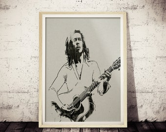 Bob Marley Minimalist Watercolor BLACK and White Vintage Art Print, Bob Marley Poster, Bob Marley Decor, Bob Marley on Vintage Paper Texture