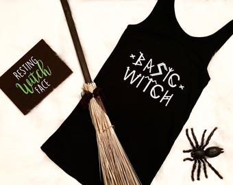 BASIC WITCH tank, Halloween shirt, Witch, Halloween tank, Basic Witch