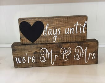 Wedding Countdown Stackable Blocks/Day's Until We're Mr & Mrs