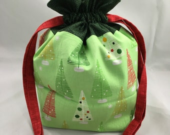 Project Bag for Knitting, Small Drawstring, Tote Bag, Travel, Toiletry, Make-Up, Kids Purse, Gift- Modern Christmas Trees with Green Accent