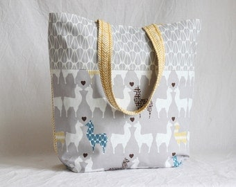 Beach bag, shopper, lamas