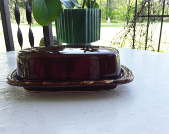 Mid-Century Brown Drip Glaze Covered Butter Dish