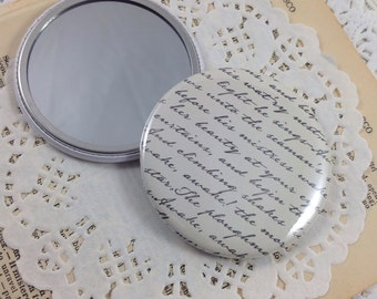 Pocket Mirror, Bridesmaid Gift, Mirror, Purse Mirror, Party Favors, Shower Favors, Teacher Gift, Stocking Stuffers