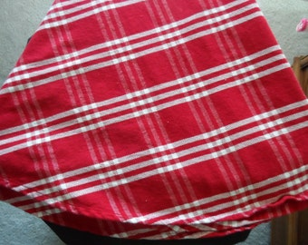 Vintage Cotton Round Tablecloth Red with White Lines   948