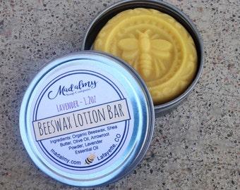 Beeswax Lotion Bar - Beeswax Lotion - Organic Beeswax - Lotion Bar - Lavender Lotion - Hard Lotion Bar - Solid Lotion