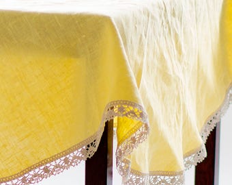 Round Linen tablecloth Linen lace Table linens Circle Circular tablecloth Table cover Cloth Yellow  Dining Holiday Tablecloth napkins Custom