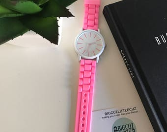 Rose Pink & White Large Face Watch